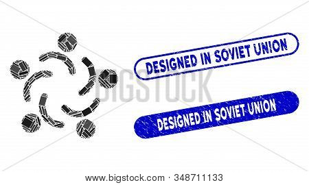 Mosaic people unity and rubber stamp seals with Designed in Soviet Union caption. Mosaic vector people unity is designed with randomized rectangle items. Designed in Soviet Union seals use blue color, stock photo