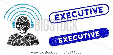 Mosaic operator radio signal and rubber stamp seals with Executive caption. Mosaic vector operator radio signal is formed with scattered rectangle items. Executive stamp seals use blue color, stock photo