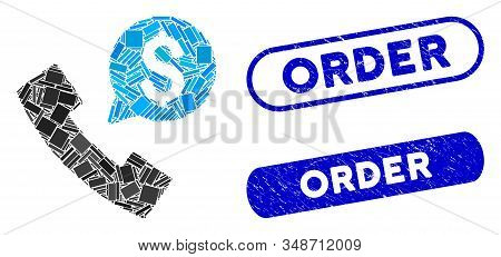 Mosaic phone order and corroded stamp seals with Order phrase. Mosaic vector phone order is formed with random rectangles. Order stamp seals use blue color, and have round rectangle shape. stock photo