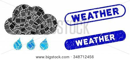 Mosaic rain weather and rubber stamp seals with Weather caption. Mosaic vector rain weather is created with random rectangle items. Weather stamp seals use blue color, and have round rectangle shape. stock photo