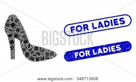 Mosaic lady shoe and corroded stamp seals with For Ladies text. Mosaic vector lady shoe is designed with scattered rectangle items. For Ladies stamp seals use blue color, stock photo