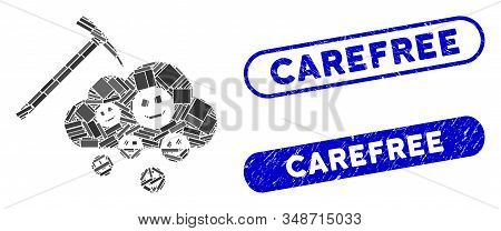 Mosaic happy cloud mining and corroded stamp watermarks with Carefree phrase. Mosaic vector happy cloud mining is composed with scattered rectangle items. Carefree stamp seals use blue color, stock photo