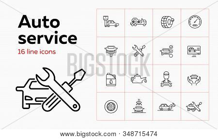 Auto service line icon set. Set of line icons on white background. Auto concept. Car, checking, machine oil, master. Vector illustration can be used for topics like car, auto, mechanical, service stock photo