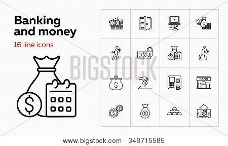 Banking and money icons. Set of line icons on white background. Bank, banknote, purse. Banking and money saving concept. Vector illustration can be used for topics like banking, economy, investment stock photo