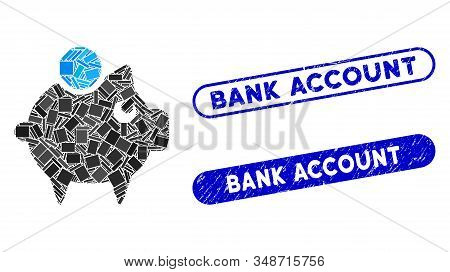 Mosaic piggy bank and grunge stamp seals with Bank Account phrase. Mosaic vector piggy bank is composed with scattered rectangle items. Bank Account stamp seals use blue color, stock photo