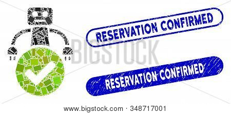 Mosaic valid robot and rubber stamp watermarks with Reservation Confirmed phrase. Mosaic vector valid robot is designed with random rectangle items. Reservation Confirmed stamp seals use blue color, stock photo