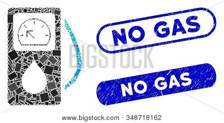 Collage gas station and grunge stamp seals with No Gas phrase. Mosaic vector gas station is created with scattered rectangles. No Gas stamp seals use blue color, and have round rectangle shape. stock photo