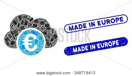 Mosaic Euro cloud banking and corroded stamp watermarks with Made in Europe text. Mosaic vector Euro cloud banking is formed with randomized rectangle items. Made in Europe stamp seals use blue color, stock photo