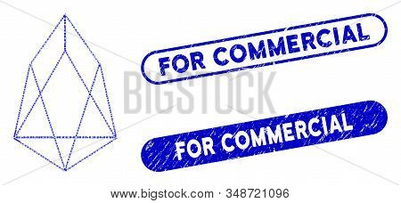 Mosaic eos currency and grunge stamp seals with For Commercial text. Mosaic vector eos currency is composed with scattered rectangle items. For Commercial stamp seals use blue color, stock photo