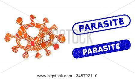 Mosaic bacteria and rubber stamp seals with Parasite phrase. Mosaic vector bacteria is composed with randomized rectangle items. Parasite stamp seals use blue color, and have round rectangle shape. stock photo
