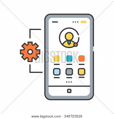 Mobile application management color line icon. Describes software and services responsible for provisioning access to internally developed mobile apps. UI UX GUI design element. Editable stroke. stock photo