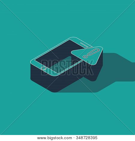 Isometric Mobile phone with exclamation mark icon isolated on green background. Alert message smartphone notification. Vector Illustration stock photo