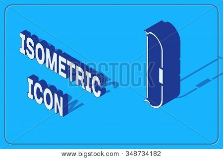 Isometric Medieval bow icon isolated on blue background. Medieval weapon. Vector Illustration stock photo