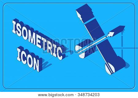 Isometric Medieval crossed arrows icon isolated on blue background. Medieval weapon. Vector Illustration stock photo