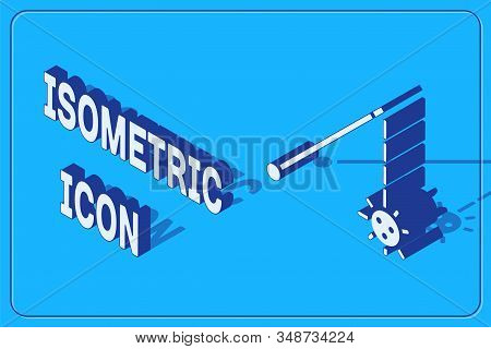 Isometric Medieval chained mace ball icon isolated on blue background. Medieval weapon. Vector Illustration stock photo