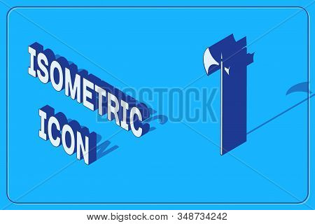 Isometric Medieval halberd icon isolated on blue background. Medieval weapon. Vector Illustration stock photo