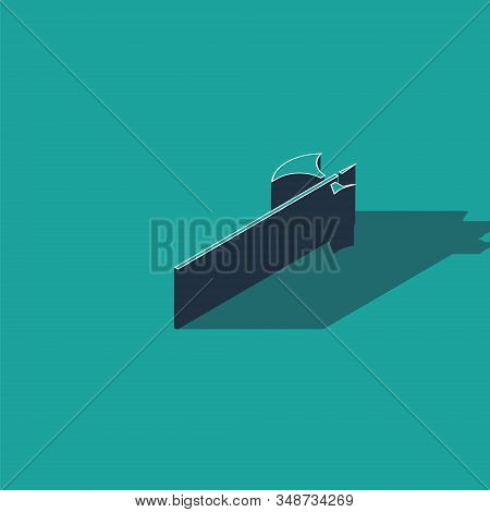 Isometric Medieval halberd icon isolated on green background. Medieval weapon. Vector Illustration stock photo