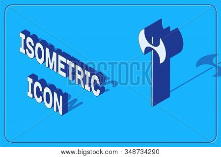 Isometric Medieval axe icon isolated on blue background. Battle axe, executioner axe. Medieval weapon. Vector Illustration stock photo