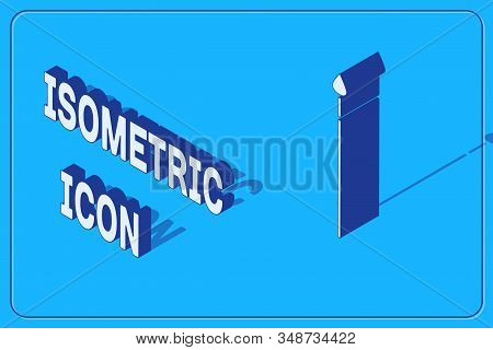 Isometric Medieval spear icon isolated on blue background. Medieval weapon. Vector Illustration stock photo