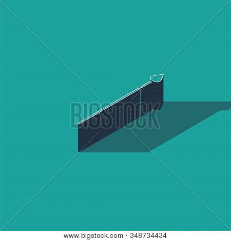 Isometric Medieval spear icon isolated on green background. Medieval weapon. Vector Illustration stock photo