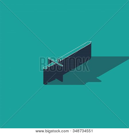 Isometric Medieval sword icon isolated on green background. Medieval weapon. Vector Illustration stock photo
