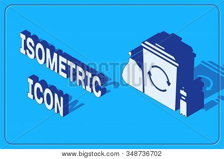 Isometric Recycle bin with recycle symbol icon isolated on blue background. Trash can icon. Garbage bin sign. Recycle basket. Vector Illustration stock photo