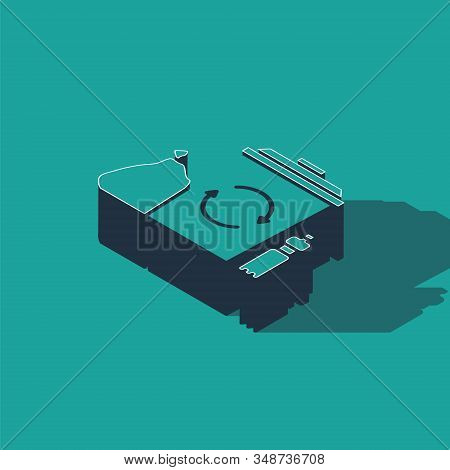 Isometric Recycle bin with recycle symbol icon isolated on green background. Trash can icon. Garbage bin sign. Recycle basket. Vector Illustration stock photo