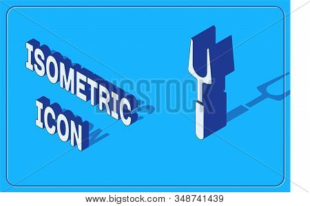 Isometric Barbecue fork icon isolated on blue background. BBQ fork sign. Barbecue and grill tool. Vector Illustration stock photo