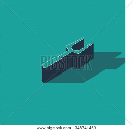Isometric Barbecue fork icon isolated on green background. BBQ fork sign. Barbecue and grill tool. Vector Illustration stock photo