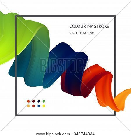 Abstract vector illustration. 3d liquid fluid flow rainbow ribbon. Color isolated wave in modern style. Cool futuristic dynamic acrylic shape on a white background. stock photo
