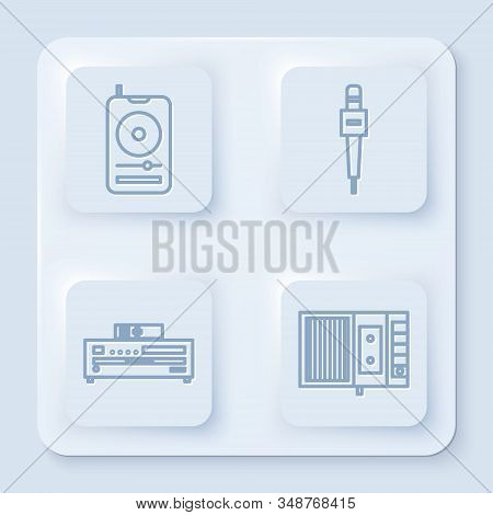 Set line Music player, Microphone, Music CD player and Music tape player. White square button. Vector stock photo