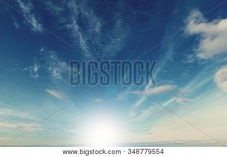 sun glare and blue sky stock photo
