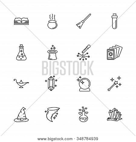 Magic, Fantasy, Mystic outline icons set - Black symbol on white background. Magic, Fantasy, Mystic Simple Illustration Symbol - lined simplicity Sign. Flat Vector thin line Icon - editable stroke stock photo