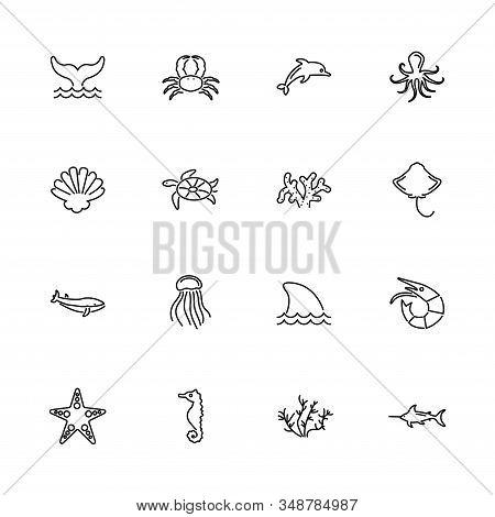 Marine Life, Sea Animal outline icons set - Black symbol on white background. Marine Life, Sea Animal Simple Illustration Symbol - lined simplicity Sign. Flat Vector thin line Icon - editable stroke stock photo