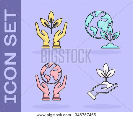 Set Plant in hand of environmental protection, Plant in hand of environmental protection, Human hands holding Earth globe and Earth globe and plant icon. Vector stock photo