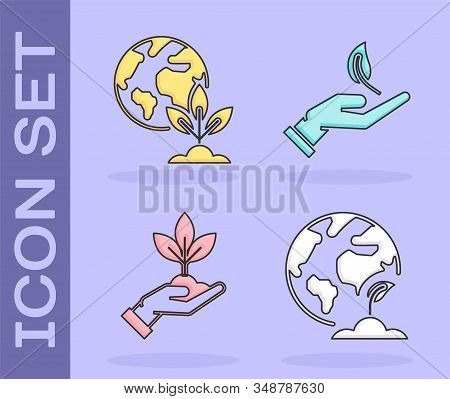Set Earth globe and plant, Earth globe and plant, Plant in hand of environmental protection and Sprout in hand of environmental protection icon. Vector stock photo