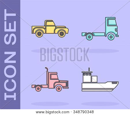 Set Cargo ship, Pickup truck, Delivery cargo truck vehicle and Delivery cargo truck vehicle icon. Vector stock photo