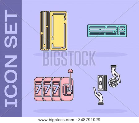 Set Casino chips exchange on stacks of dollars, Deck of playing cards, Slot machine with lucky sevens jackpot and Deck of playing cards icon. Vector stock photo