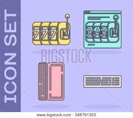 Set Deck of playing cards, Slot machine with lucky sevens jackpot, Deck of playing cards and Online slot machine icon. Vector stock photo