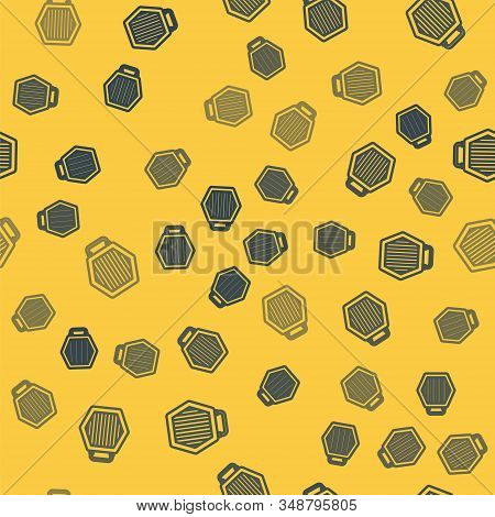 Blue line Pet carry case icon isolated seamless pattern on yellow background. Carrier for animals, dog and cat. Container for animals. Animal transport box. Vector Illustration stock photo