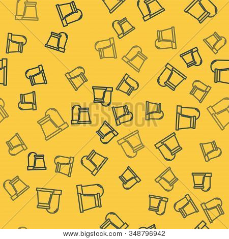 Blue line Oil and gas industrial factory building icon isolated seamless pattern on yellow background. Vector Illustration stock photo
