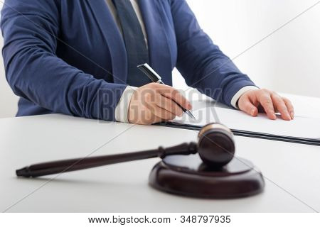 Law, advice and Legal services concept. Lawyer and attorney having team meeting at law firm. stock photo