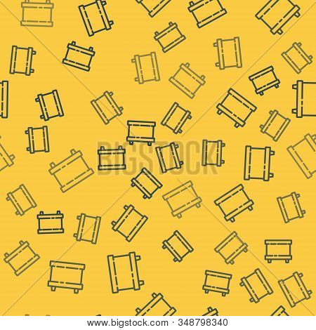 Blue line Car battery icon isolated seamless pattern on yellow background. Accumulator battery energy power and electricity accumulator battery. Vector Illustration stock photo