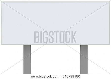 White metal ad sign board signage, isolated blank empty roadside advertising signboard rectangle copy space, large rectangular horizontal metallic advert placard plate, grey signpost pole post background stock photo