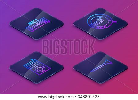 Set Isometric line Music CD player, Music MP3 player, Music CD player and Clarinet. Blue square button. Vector stock photo