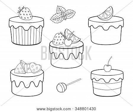 A set of sweets for coloring. Vector cupcakes, fruit cakes and sweets. Cakes with cream and icing, lemon, strawberries cherries and mint. Sweet festive pastry dessert - vector set for coloring. stock photo