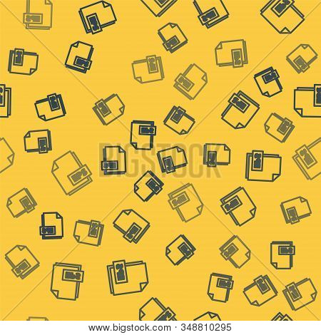 Blue line EPS file document. Download eps button icon isolated seamless pattern on yellow background. EPS file symbol. Vector Illustration stock photo
