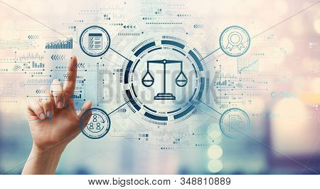Legal advice service concept with hand pressing a button on a technology screen stock photo