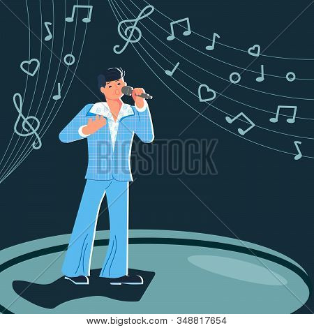 Disco music male artist. Man singer singing into a microphone. Modern poster performance. Flat Art Vector illustration stock photo