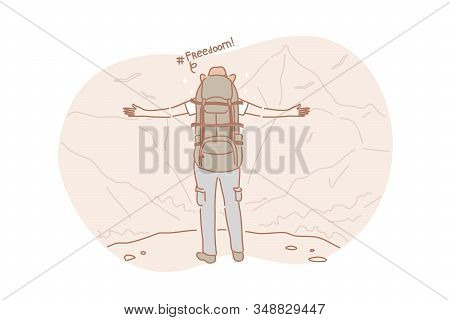Freedom, travel, hiking concept. Active adventurous man with backpack, boy hiker traveller or explorer standing on top of mountain or cliff, feeling freedom and looking on valley. Simple flat vector stock photo